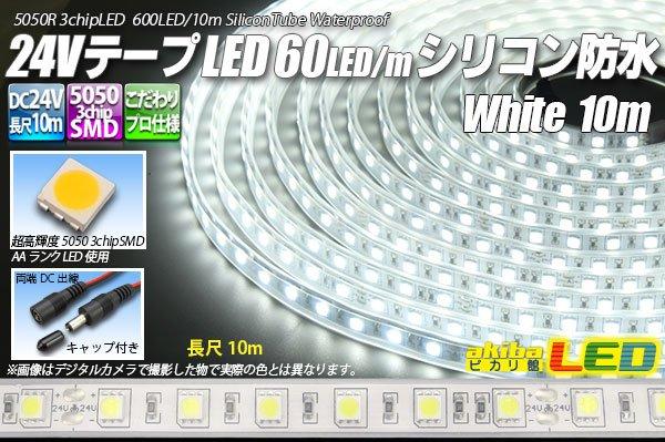 画像1: 24VテープLED60LED/mシリコン防水 白色 10m (1)