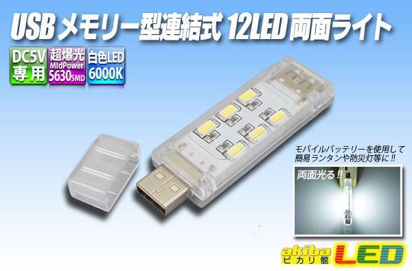 画像1: USBメモリー型連結式12LED両面ライト (1)